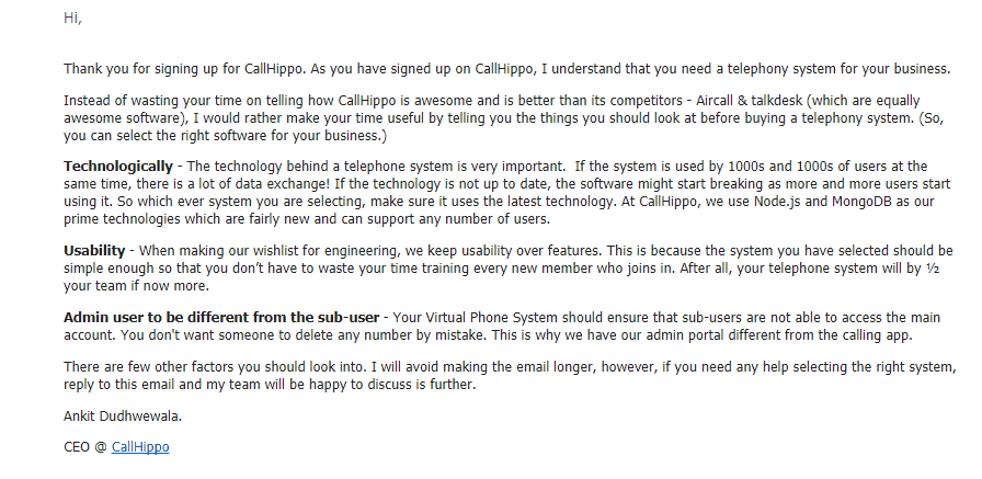 callhippo-new-welcome email