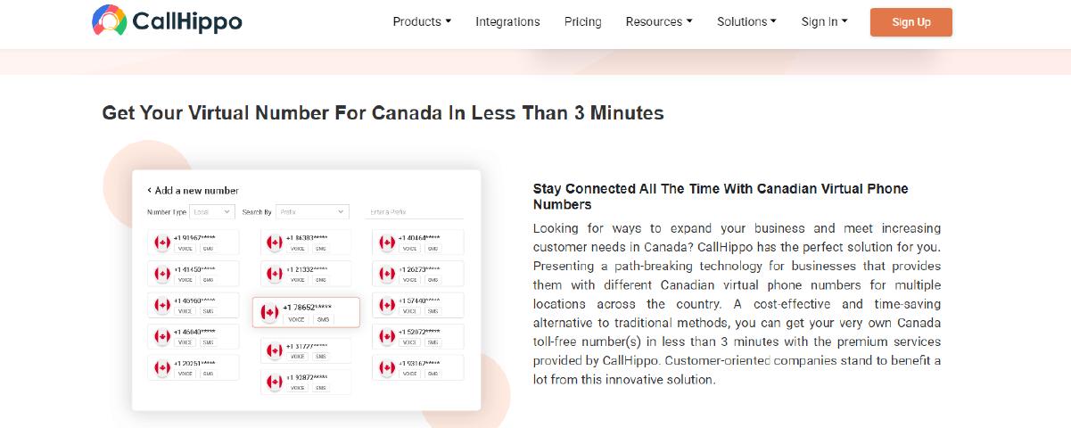 Virtual Phone Number Providers in Canada CallHippo
